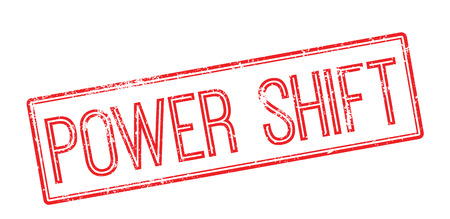 domination: Power Shift red rubber stamp on white. Print, impress, overprint.