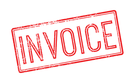 receivable: Invoice red rubber stamp on white. Print, impress, overprint.