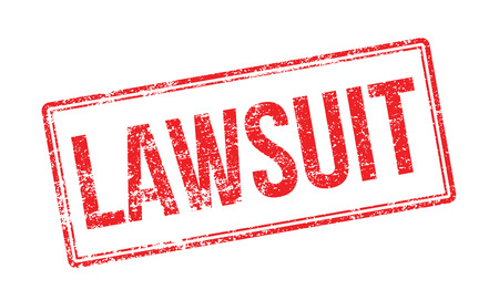 Lawsuit red rubber stamp on white. Print, impress, overprint. Illustration