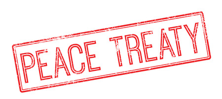 treaty: Peace Treaty red rubber stamp on white. Print, impress, overprint. Illustration