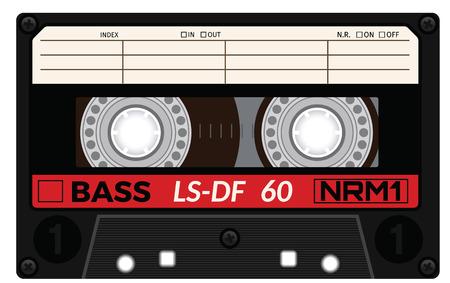 레트로 플라스틱 오디오 카세트, 음악 카세트, 카세트 테이프입니다. 흰색 배경에 고립. 오래 된 기술의 현실적인 그림입니다. 빈티지 테이프입니다.