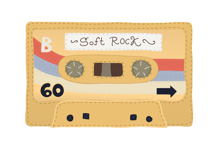 Retro knitted soft audio cassette tape. Stylized to look handmade, knitted by hand. Realistic illustration of a cassette made with soft material. Vintage tape.