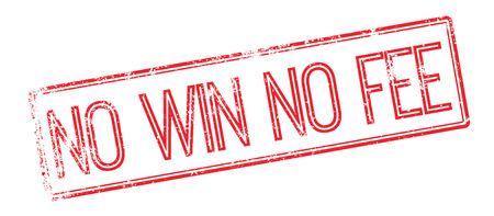 fee: No Win No Fee red rubber stamp on white. Print, impress, overprint.