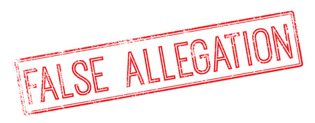 bogus: False Allegation red rubber stamp on white. Print, impress, overprint.