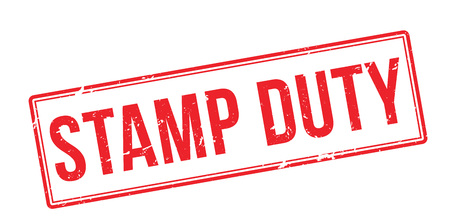 Stamp Duty red rubber stamp on white. Print, impress, overprint.