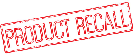 recall: Product recall red rubber stamp on white. Print, impress, overprint. Illustration