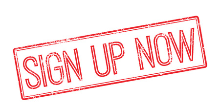 settle up: Sign Up Now. Red rubber stamp on white. Print, impress, overprint.