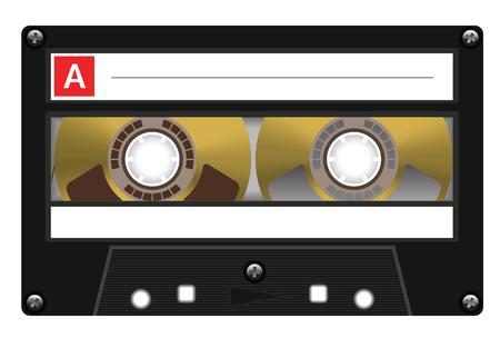 seventies: Retro plastic audio cassette, music cassette, cassette tape. Isolated on white background. Realistic illustration of old technology. Vintage tape.