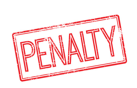 fined: Penalty red rubber stamp on white. Print, impress, overprint.