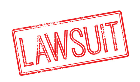 Lawsuit red rubber stamp on white. Print, impress, overprint.