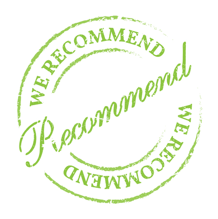 我々 をお勧めしますグリーン スタンプです。白い背景に disstressed 自然なゴム印。新鮮でヘルシーな自然の製品のプロモーションの標識です。  イラスト・ベクター素材
