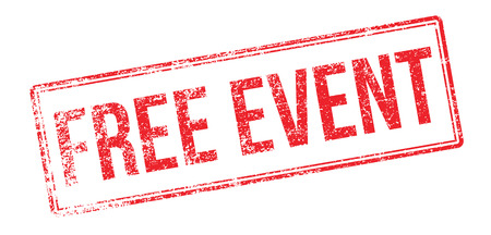 ocassion: Free event red rubber stamp on white. Print, impress, overprint.