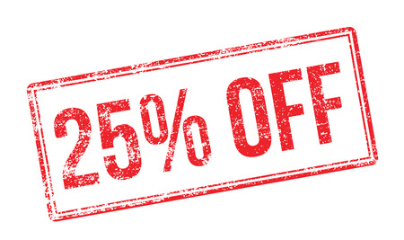 25% OFF red rubber stamp on white. Print, impress, overprint. Vectores