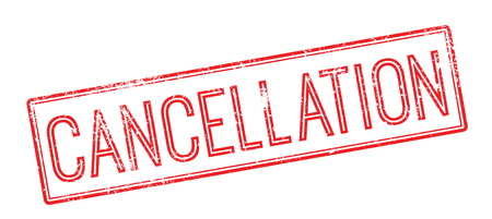 Cancellation red rubber stamp on white. Print, impress, overprint. Stock Illustratie
