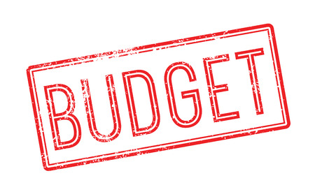 deficit target: Budget red rubber stamp on white. Print, impress, overprint.