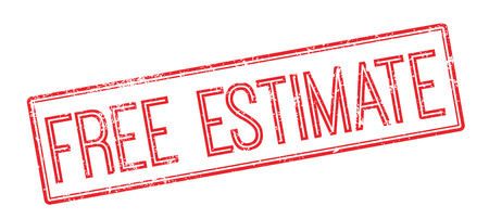 estimate: Free Estimate red rubber stamp on white. Print, impress, overprint.