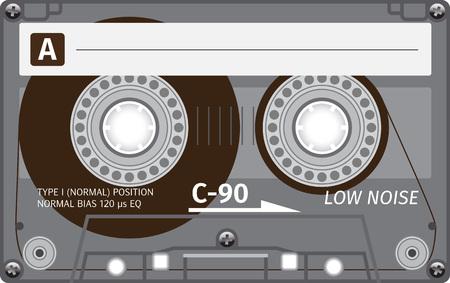 Retro plastic audio cassette, music cassette, cassette tape. Isolated on white background. Realistic illustration of old technology. Vintage tape.