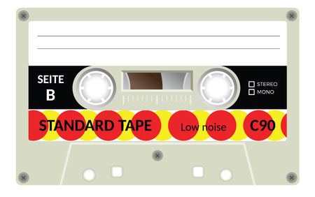 analogical: Retro plastic audio cassette, music cassette, cassette tape. Signage in German Seite B, meaning Side B. Isolated on white background. Realistic illustration of old technology. Vintage tape.