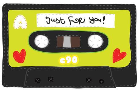 Retro gestrickt weiche Audio-Kassette. Stilisierte handgefertigt zu sehen, von Hand gestrickt. Realistische Darstellung einer Kassette mit weichem Material. Vintage-Band. Vektorgrafik