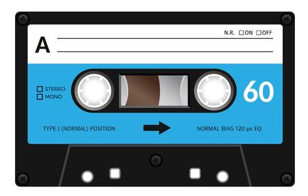 Cassette Retro plastique audio, cassettes de musique, cassette. Isolé sur fond blanc. illustration réaliste de la vieille technologie. bande Vintage.