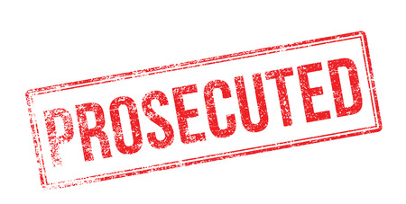 Prosecuted red rubber stamp on white. Print, impress, overprint.