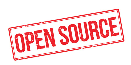 Open Source red rubber stamp on white. Print, impress, overprint.