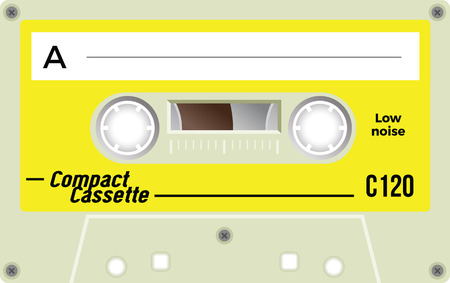 Retro plastic audio cassette, music cassette, cassette tape. Isolated on white background. Realistic illustration of old technology. Vintage tape.