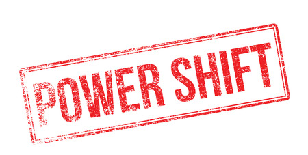 Power Shift red rubber stamp on white. Print, impress, overprint.
