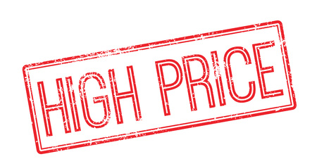high priced: High Price red rubber stamp on white. Print, impress, overprint.