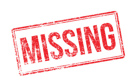 disappeared: Missing red rubber stamp on white. Print, impress, overprint.