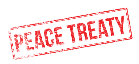 armistice: Peace Treaty red rubber stamp on white. Print, impress, overprint. Illustration