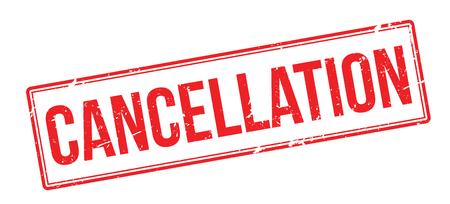 Cancellation red rubber stamp on white. Print, impress, overprint. Illustration