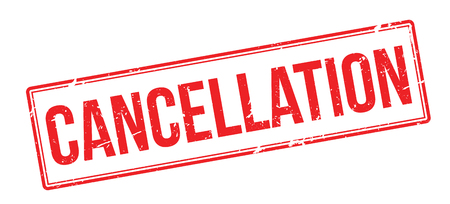 dissolution: Cancellation red rubber stamp on white. Print, impress, overprint. Illustration
