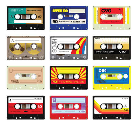 audio electronics: Retro plastic audio cassette, music cassette, cassette tape. Isolated on white background. Realistic illustration of old technology. Vintage tape. Signage in Japanese Audio cassette tape, in Russian - model number and in German - Unrecorded. Made by Ge