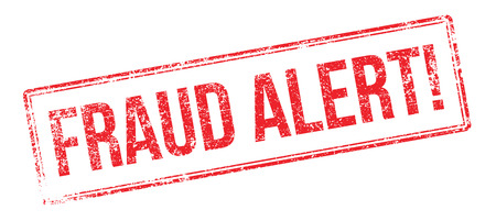 impress: Fraud Alert red rubber stamp on white. Print, impress, overprint.