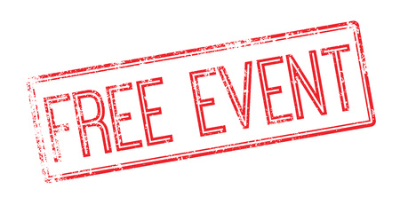 Free event red rubber stamp on white. Print, impress, overprint.
