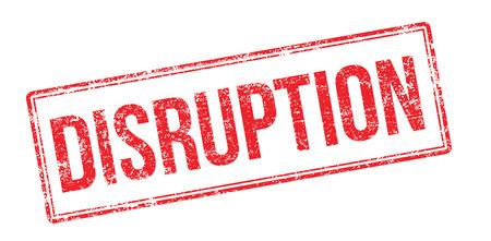 interruption: Disruption red rubber stamp on white. Print, impress, overprint. Illustration