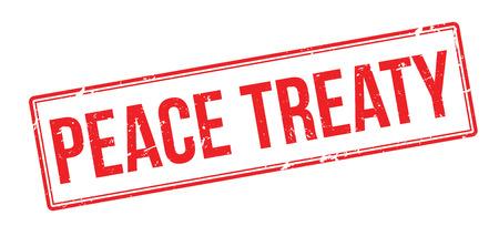 Peace Treaty red rubber stamp on white. Print, impress, overprint. Illustration