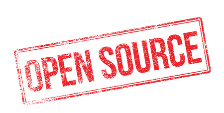 truthful: Open Source red rubber stamp on white. Print, impress, overprint.