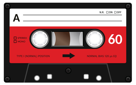 레트로 플라스틱 오디오 카세트, 음악 카세트, 카세트 테이프. 흰색 배경에 고립. 이전 기술의 현실적인 그림. 빈티지 테이프. 일러스트