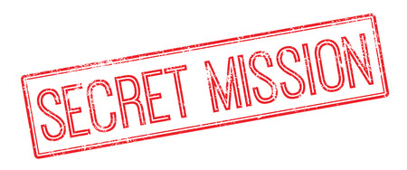 Secret Mission red rubber stamp on white. Print, impress, overprint.