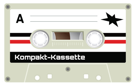 compact cassette: Retro plastic audio cassette, music cassette, cassette tape. Signage in German language meaning Compact Cassette. Isolated on white background. Realistic illustration of old technology. Vintage tape.
