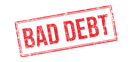 debtor: Bad debt red rubber stamp on white. Print, impress, overprint.