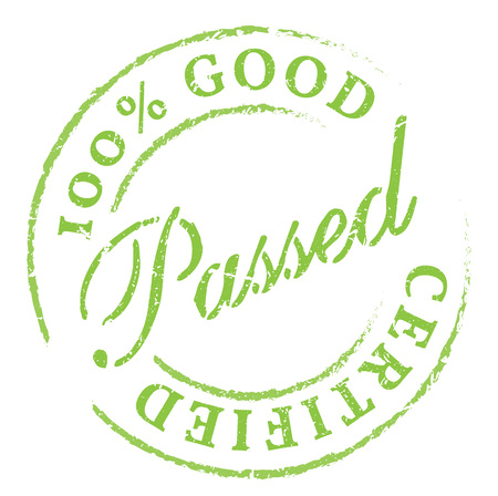 passed stamp: Passed. Green rubber stamp on white. Print, impress, overprint.