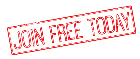 enlist: Join Free Today red rubber stamp on white. Print, impress, overprint.