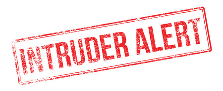 trespasser: Intruder Alert red rubber stamp on white. Print, impress, overprint.