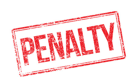 Penalty red rubber stamp on white. Print, impress, overprint.