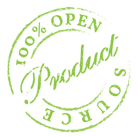 Open Source green rubber stamp on white. Print, impress, overprint.