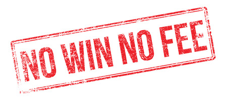 solicitor: No Win No Fee red rubber stamp on white. Print, impress, overprint.
