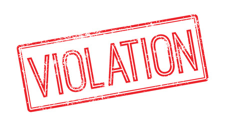 unlawful act: Violation red rubber stamp on white. Print, impress, overprint. Illustration